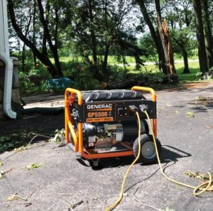 generac portable generator outside garage